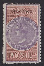 New South Wales Stamp Duty : 1866 QV 2/- Revenue SPECIMEN EXTREMELY RARE!