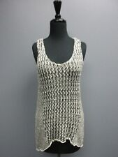 CABI Black White Open Weave Sleeveless Scoop Neck Casual Tank Top Sz S SM9043