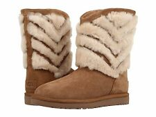Women's Shoes UGG Tania Shearling Striped Boots 1012391 Chestnut *New*