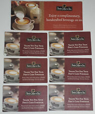 7 Peets Coffee Free Complimentary Handcrafted Beverage Drink Coupon Voucher Card