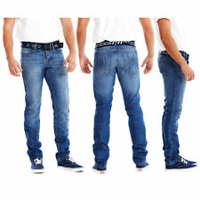 MENS SKINNY FIT JEANS/PANTS WITH FREE BELT SIZES WAIST 30-40 SHORT REG  LONG