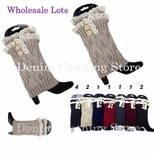 Wholesale Women Crochet Knitted Lace Button Trim Boot Cuffs Toppers Leg Warmer