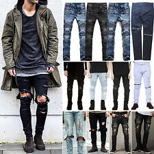 Men's Straight Hole Slim Fit Jeans Casual Distressed Ripped Pants Denim Trousers