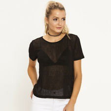 New Mink Pink Textured T-Shirt in Black | Womens Tees & Loose Tops