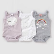 Baby Girls Pack Of 3 Bodysuits With Straps Birth-3 Yrs
