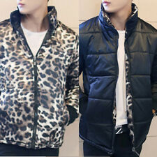 Mens Stand Collar Zip Up Cool Sexy Leopard Slim Fit Jacket Coat Outwear TOP XS-L