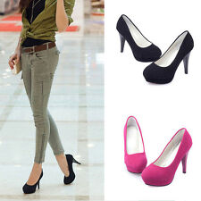 Sexy Women's Simple Stilettos High Heels Platform Round toe Fashion Pumps Shoes