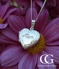 "Sterling Silver Heart Engraved Edge Mum Locket Necklace 18"" 20"""