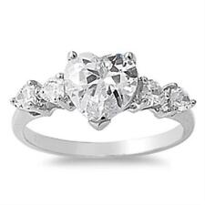 Sterling Silver Love Heart CZ Engagement Wedding All sizes available Size 8 Ring