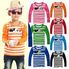 Boys Girls Kids Mickey Mouse T-shirt Tops Blouse Toddler Striped Cartoon Clothes