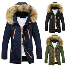 Men's Thick Overcoat Parka Anorak Hooded Sports Jacket Padded Army Green Outwear