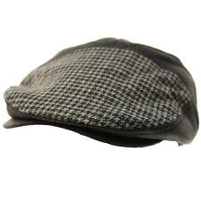 Men's Thick Faux Suede Houndstooth Flat Golf Ivy Driver Cabbie Cap Hat Black