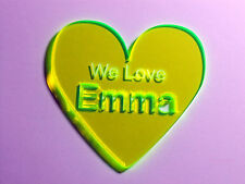 ACRYLIC GLASS HEART  We Love Emma  YELLOW TRANSPARENT FLOURESCENT  86 x 88 mm