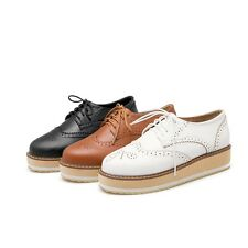 Women's Fashion Sneakers Lace Up Flat Brouge Oxfords Shoes Platform Round Toe