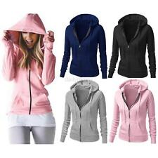 Women Plain Hoodie Ladies Hooded Zip Zipper Top Sweat Shirt Jacket Coat Sweater
