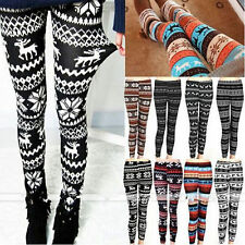 Women Winter Christmas Snowflake Knitted Leggings Skinny Stretch Slim Warm Pants