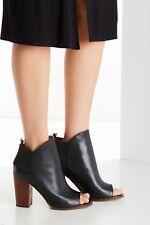 KELSI DAGGER BROOKLYN Black Leather Gemma Peep-Toe Block-Heel Booties
