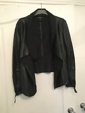 Black Leather Waterfall Jacket River Island Size 14