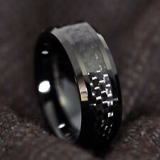 8mm Mens Tungsten Black Carbon Fiber Wedding Ring Bridal Jewelry Size 6-13