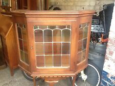 Continental Light Oak Wall Display Cabinet with 2 Leaded Glass Doors & Key