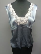 NANETTE LEPORE Blue Silk Cap Sleeve Floral Embroidered Blouse Size 8 SMA9850