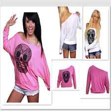 White Sexy Skull Print Off Neck White Long Sleeve T-shirt Women Top