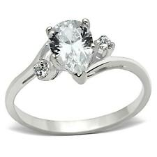 Sterling Silver Engagement Ring Cubic Zirconia Size 6 7 8 9 Promise Pear Cut USA