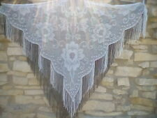 Gorgeous HUGE Black Swan+ White+ Ecru Vintage Lacy Fringe Shawl Lot BOHO Hippie