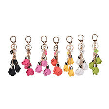 Faux Leather Flower Keyring Charm Pendant Purse Bag Key Ring Chain Keychain Gift