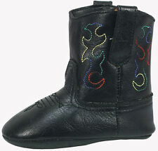 Smoky Mountain Boots Infant Boys Baby Doe Black Leather Cowboy