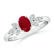 Vintage Style Oval Solitaire Ruby Ring with Diamond in 14k White Gold Size 3-13