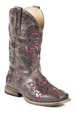 Roper Boots Kids Brown Leather Metallic Lazer Belle Cowgirl