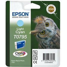 GENUINE EPSON OWL SERIES LIGHT CYAN PRINTER INK CARTRIDGE T0795 (C13T07954010)