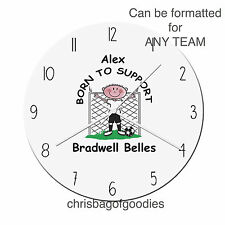 PERSONALISED FOOTBALL TEAM GLASS CLOCK Gifts for ALL TEAMS Him Her Christmas