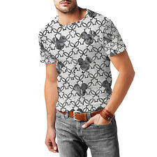 Mickey Mouse Watercolor Black Mens Cotton Blend T-Shirt XS-3XL All-Over-Print