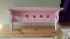 Craftsman hand made shabby chic MDF shelf 7 heart 5 mini shaker pegs