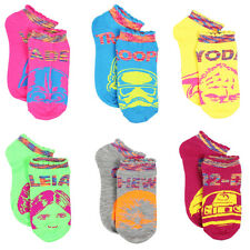 Star Wars Girls and Women's 6 pack Ankle Socks 4325YH 6/8 9/11