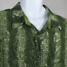 Puritan Men's Green Floral Design Rayon Button Front Hawaiian Shirt Size 2XL XXL