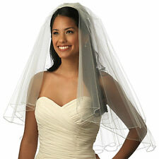 white/ivory satin Edge Elbow Length Bridal Veil 2-Layer  Wedding Veils with comb