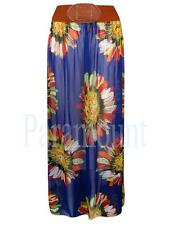 Floral Print Long Belted Boho Chiffon Maxi Skirt  Womens Size