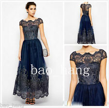 Navy Lace Mother of the Bride Formal Dress Applique Cape Sleeve Evening Gown New