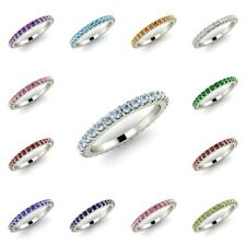 AAA Birthstone Wedding Anniversary Band Ring Solid 14k White Gold - Free Engrave
