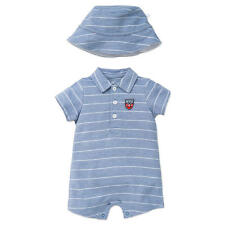 Little Me Boys 2 Piece Blue Striped Knit Polo Romper and Matching Hat