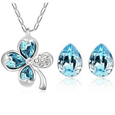 New leaf clover water tear drop jewelry set 18K white Gold plated pendant neckla