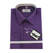 Solid Mens Dress Shirt French Convertible Cuff Boltini Italy - Purple