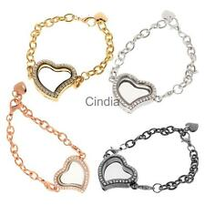 Ladies Crystal Rhinestone Love Heart Chain Bracelet Bangle