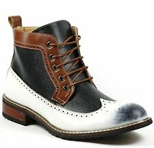 Ferro Aldo Mens Lace up Dress Ankle Boot w/ Leather Lining and Full Side Zipper
