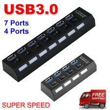 4/7Ports USB 3.0 Hub with On/Off Switch+EU AC Power Adapter for PC Laptop E5@