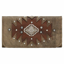 American West Annie's Secret Collection Wallet Charcoal Brown Leather Tri-Fold