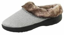 isotoner Woodlands Heathered Canvas Gray Memory Foam Hoodback Slippers